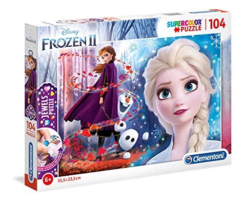 Clementoni 20164 Clementoni-20164-Jewels Disney Frozen 2-104 Teile, Puzzle für Kinder, Mehrfarben