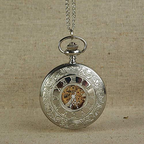 HGJINFANF Mano de Obra Elegante y Simple, Exquisita, Buenos Reloj de Bolsillo Hombres mecánicos Vintage Bronce Relojes Retro Charm Colgante Colgante con Cadena de Oro Dial de Engranajes