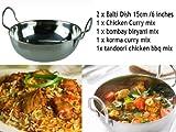 2 x 15 cm BALSARA es/15,24 cm acero inoxidable con 4 plato de BALTI - Amarillo de pollo al CURRY, BOMBAY BIRYANI MIX para pollo/carne/para verduras, pollo KORMA amarillo, pollo TANDOORI barbacoa MIX BALTI cuenco para especias de cocina fuente BALTI KADHAI Amarillo de WORLD CLASS auténtico amarillo especias KARAI KARAHI especias INDIA auténtico sabor de los alimentos - de pared cuadrado con sabor lamiendo