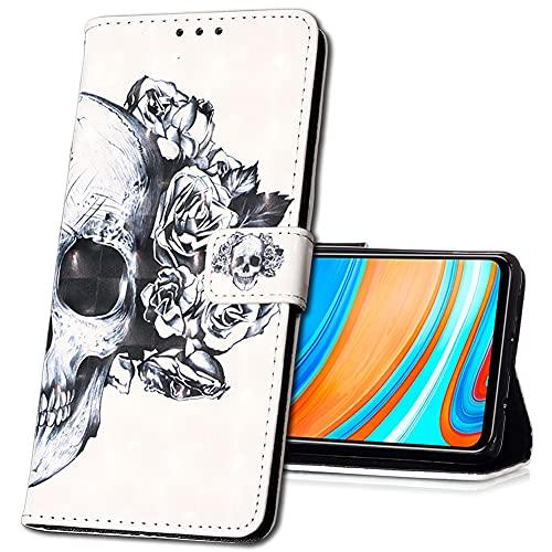 MRSTER Oppo Find X2 Neo Handytasche, Leder Schutzhülle Brieftasche Hülle Flip Hülle 3D Muster Cover Stylish PU Tasche Schutzhülle Handyhüllen für Oppo Find X2 Neo 5G. YB Skull Flower