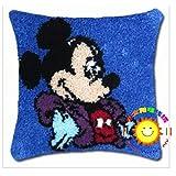 DATOU Kits De Alfombras De Gancho De Pestillo DIY Cojín Alfombra Alfombra Artesanía De Dibujos Animados Bordado Funda De Almohada Crocheting, Mickey Mouse(Size:42cm/16.5in,Color:4)