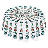 PowerKing Mantel, Cubierta de Mesa Redonda Lavable de 59 Pulgadas y Mantel para Mesa de Buffet, Fiestas, Cena navideña, tapete de oración Indio Mandala, tapete de Playa (White Green)