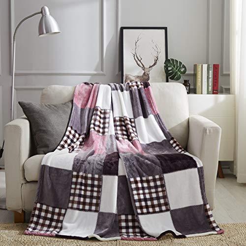Tache Autumn Pink Purple Farmhouse Super Soft Micro Fleece Plaid Patchwork Plush Lightweight Dual-Sided Decorative Couch, Sofa, Travel, Lap, Bed Throw Blanket, 50x60