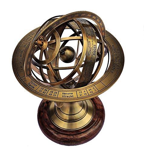 Castle Instruments Globo de latón antiguo con esfera armillar, 28 cm, con grabado del zodiaco Astrolabe, base de madera