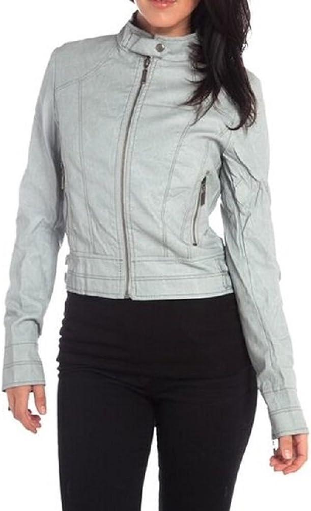 Grey Gray Distressed Mock Collar Long Sleeve Vegan Leather Biker Moto Jacket