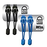 LOCK LACES Elastic No Tie Shoe Laces (Pack of 2) One Size Fits All (Black-Blue)