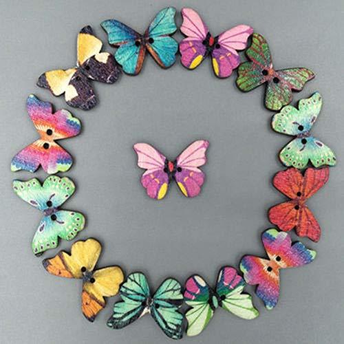 50 botones de madera multicolor de mariposa Phantom con 2 agujeros para costura, diseño de geshiglobal