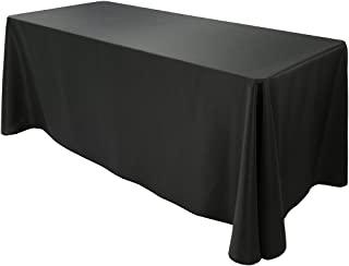 E-TEX Oblong Tablecloth - 90 x 156 Inch - Black Rectangle Table Cloth for 8 Foot Rectangular Table in Washable Polyester
