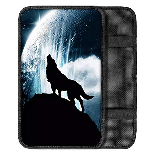 YORXINGY Universal Armrest Cushion Pad Cool Wolf Pattern Car Center Console Cover Protector Wear Resistant Automotive Interior Decor