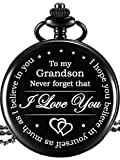 Memory Present to My Grandson Pocket Watch, I Love You to Grandson Present from Grandpa Grandma (Black)