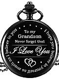 Memory Present to My Grandson Pocket Watch, I Love You to Grandson Present from Grandpa Grandma...