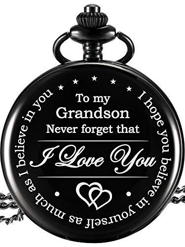Memory Present to My Grandson Pocket Watch, I Love You to Grandson Present from Grandpa Grandma (Black)