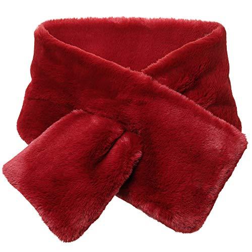 Coucoland Damen Kunst Pelz Schal Flauschig Weich Faux Pelz Damen Halstuch Kragen für Wintermantel Warm Accessoires 110 cm lang (Weinrot)