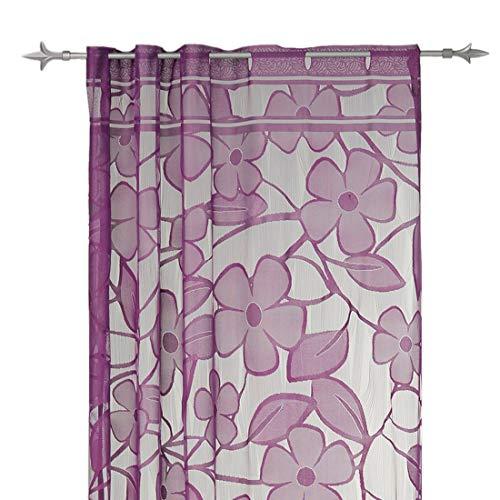 Decoratief gordijn voor huis en decoratie, ca. 140x235 cm Draadgordijn met roede dessin grof voile gordijn FAE blad of bloemenpatroon effen kleur modern Blume lila