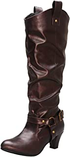 Melady Women Fashion Western Boots Knee High Pull on