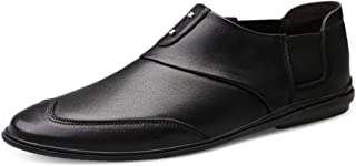 Xujw-shoes, Black Brown Mens Loafers Leather Business Loafers for Men Driving Shoes Slip On with Fashionable Metal Trim PU Leather Upper Soft Rubber Sole Wingtip