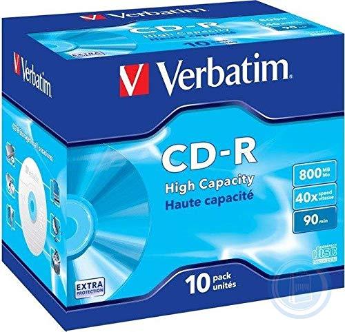 Verbatim CD-R High Capacity 800 MB I 10er Pack Jewel Case I Oberfläche weiß I CD Rohlinge I 40-fache Brenngeschwindigkeit mit langer Lebensdauer & Extraschutz I leere CDs I Audio CD Rohling