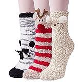 YSense 3paires Chaussettes Femme Hiver Chaussettes Pantoufles en Peluche Epaisses Chaude Tricotées Douces Mignonnes,Multicolore 3,Taille unique