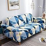 ARTEZXX Funda sofá Todo Incluido Universal All Season Funda de sofá Tejido poliéster y Elastano elástica Cubiertas de sofá 1/2/3/4 plazas Geometría Azul 4 plazas: 235-300 cm