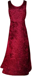 Burgundy Crush Velvet Princess Cut Plus Size Supersize Tank Maxi Dress