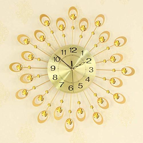 TBUDAR Reloj de pared creativo de estilo europeo con diseño de pavo real, reloj de pared grande, reloj de salón, silencioso, color dorado