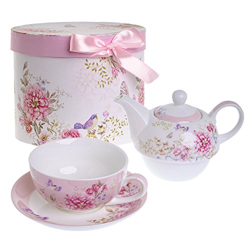 London Boutique Tea for one Teekanne Tasse Suacer Set Shaby Chic Flora Vogel Rose Schmetterling Porzellan Geschenkbox Rosa