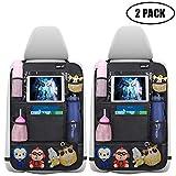 Auto Rückenlehnenschutz Ezilif 2 Stück Groß Auto Rücksitz Organizer für Kinder, 600D Oxford Stoff Wasserdicht Rücksitzschoner mit 12 Zoll iPad/Tablet-Tasche, Kick-Matten-Schutz für...