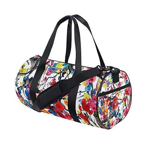 Ahomy Cherry and Plums Flowers Gym Bag Duffle Bag Sporttasche Reisetasche Reisetasche Wochenendtasche Reisetasche