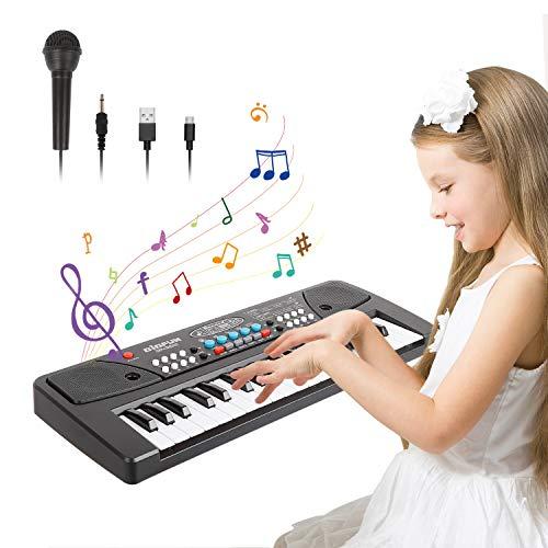 TWFRIC Teclado de Piano para Niños,37-Teclas Teclado Musical Electrónico Pianos Infantiles con Micrófono,Juguetes Musicales Educativos Regalos para 3-8 Años Niñas Niños Principiantes(Negro)