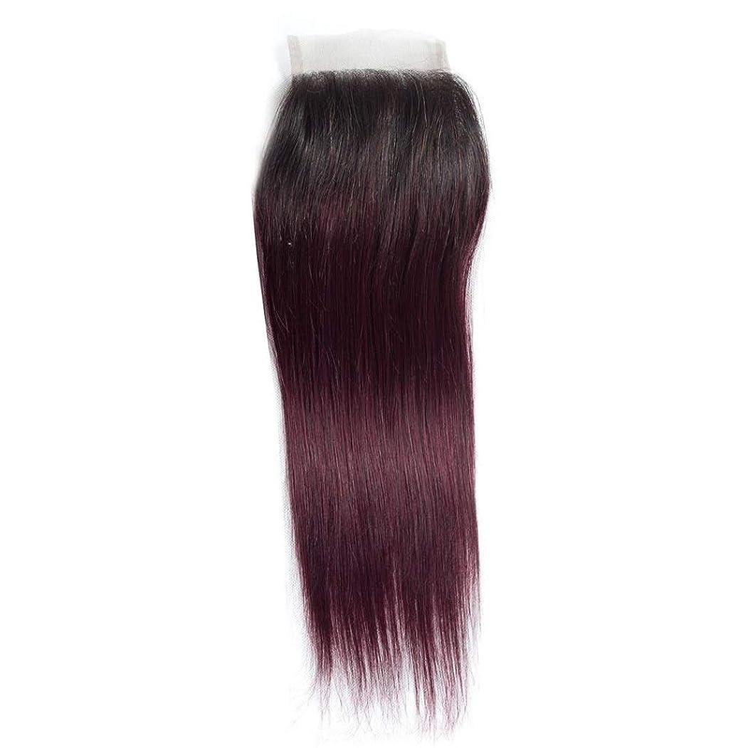 レイアバトルはねかけるIsikawan ブラジルの人間の髪の毛の黒へのワインレッドグラデーション2トーンカラー10インチ-18インチ4 x 4レース閉鎖 - フリーパートボディウェーブナチュラル (色 : ワインレッド, サイズ : 10 inch)