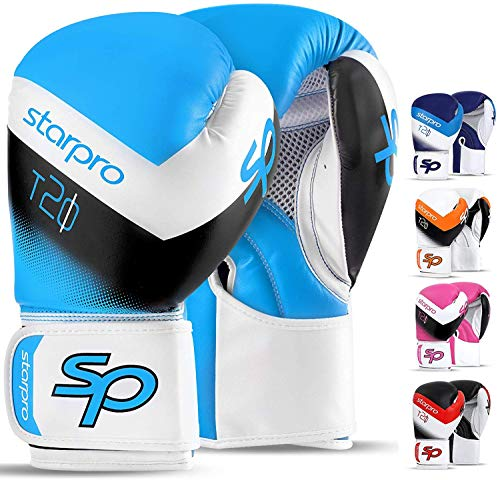 Starpro T20 Boxhandschuhe | PU Leder | Schwarz Weiß Rosa und Blau | Für Training und Sparring in Muay Thai Kickboxen Fitness und Boxen Männer & Frauen | 8oz 10oz 12oz 14oz 16oz