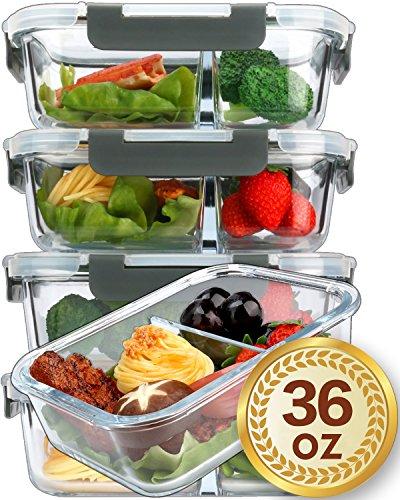 Contenedores de preparación de comidas de vidrio 2 compartimentos Control de la porción con tapas de bloqueo de presión mejoradas Contenedores de vidrio para almacenamiento de alimentos Sin BPA