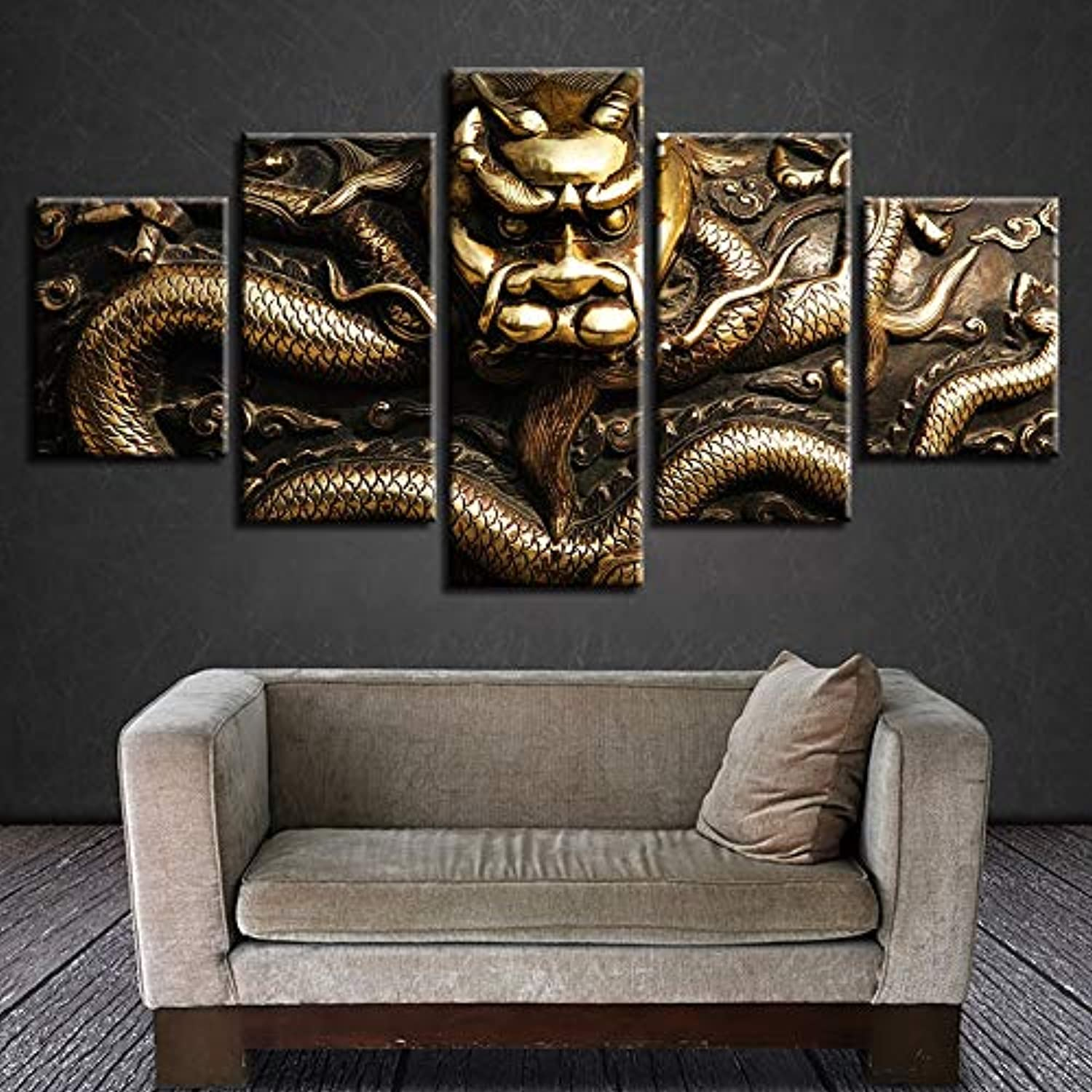 HD Printed Paintings Modular Posters Home Decoration 5 Panel Dragon Legend Abstract Tableau Art Pictures Canvas
