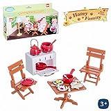 Juguetes Industriales Set de mobiliario con menaje Happy Family Medidas 15 x 18 cm