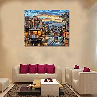 40x50cm Living Room Bedroom Town View Numbers Oil Painting On Canvas Hand Painted Decorative Paintings Acrylic Paint Home Decor