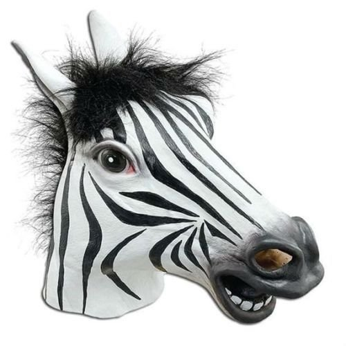 JRing Pieno Testa Maschera in Lattice Zebra Costume Creepy Halloween Party Cosplay Animale, Gomma Masks- Maschio-Un Formato (Zebra)