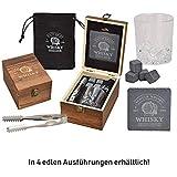 WOMA 4 Whisky Steine mit 1 Whiskey Glas, Zange, Untersetzer & Holz Geschenkbox - Whiskeysteine...