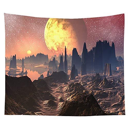 Tapiz nórdico tapiz espacio planetario paisaje decoración del dormitorio sala de estar fondo tapiz de tela a13 180x200cm