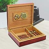 MZXUN Humidor de cigarros con revestimiento de madera de cedro marrón de 20 unidades con caja de higrómetro con dispositivo hidratante medidor