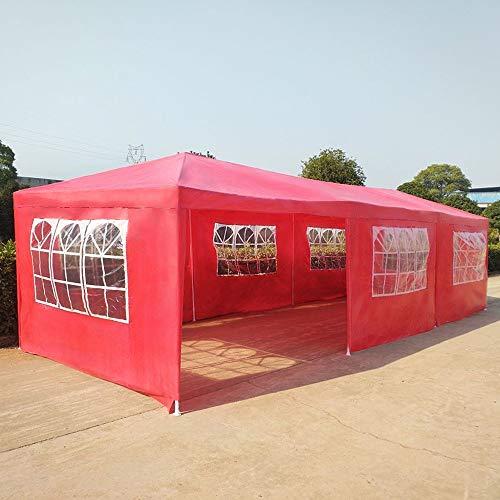 NMDD Tienda de toldos con marquesina Gazebo de jardín de 3 x 9 m, Carpa Impermeable Gazebo para Fiestas con 8 Paneles Laterales, para Boda al Aire Libre Garden Party (Rojo)