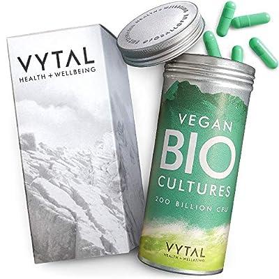 Vegan Bio Cultures Complex Probiotic Supplement Digestive Enzyme Supplements   200 Billion CFU with 5 Bacteria Strains   120 High Strength Time Release Probiotic Capsules   Probiotics for Women + Men