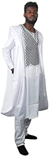 HD African Man Clothing Agbada Outfit Kaftan White 3 Pieces Attire for Man Long Sleeves