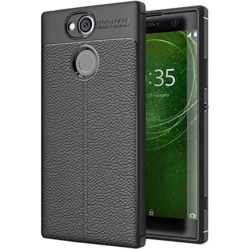 ebestStar - kompatibel mit Sony Xperia XA2 Ultra Hülle XA2 Ultra/Dual (2018) Lederhülle Design TPU Handyhülle Schutzhülle, Flex Silikon Hülle, Schwarz [Phone: 163 x 80 x 9.5mm, 6.0'']