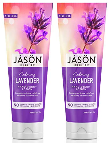 Calming Lavender Hand and Body Lotion (Pack of 2) With Aloe Vera, Ginkgo Biloba Leaf, Lavender Flower, Moluccana Seed, Sunflower Seed, Evening Primrose and Lecithin, 8 oz. each