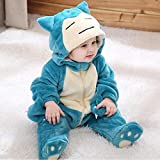 LLCA Anime Snorlax Cosplay Costume Baby Boy Girl Halloween Pajamas 1-3 Years Children Kid Kawaii Cute Zipper Jumpsuit-snorlax_9M(5-11 Months)