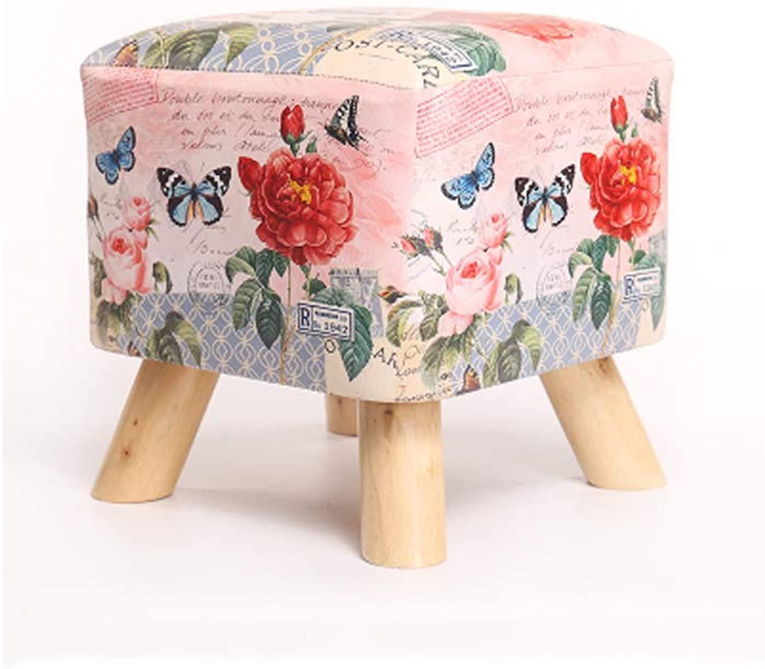 Fashion Solid Wood Footstool shoes Stool Padded Square Footstool Sofa Low Stool Small seat Foot Chair (color   B)