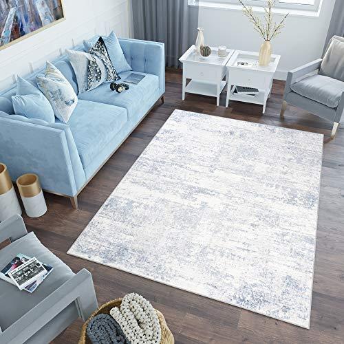 Tapiso Sky Alfombra de Salón Comedor Dormitorio Juvenil Diseño Moderno Azul Crema Vintage Abstracto Suave 80 x 150 cm