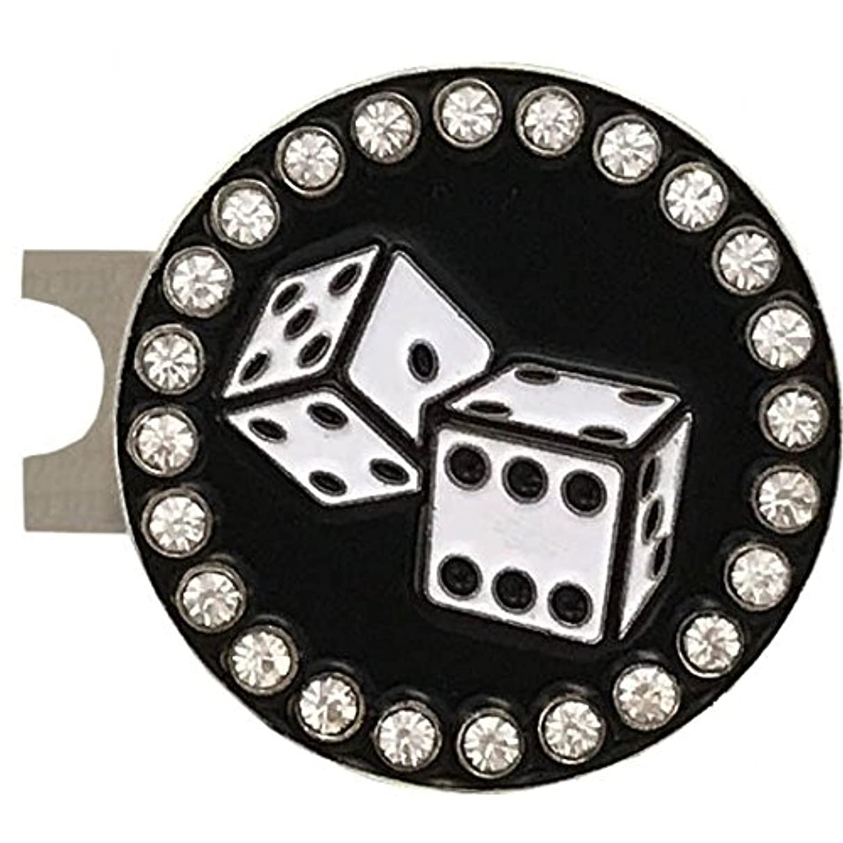Giggle Golf Bling White Dice Golf Ball Marker with A Poker Chip Hat Clip