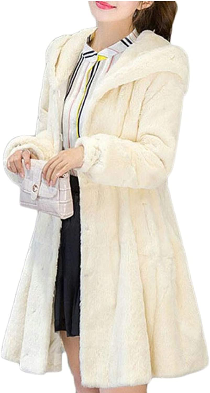 Desolateness Womens Thick Faux Fur Peacoat Winter Parka Overcat Hooded Coats Jackets