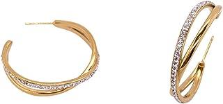 Bevilles Yellow Stainless Steel Crystal Crossover Hoop Earrings